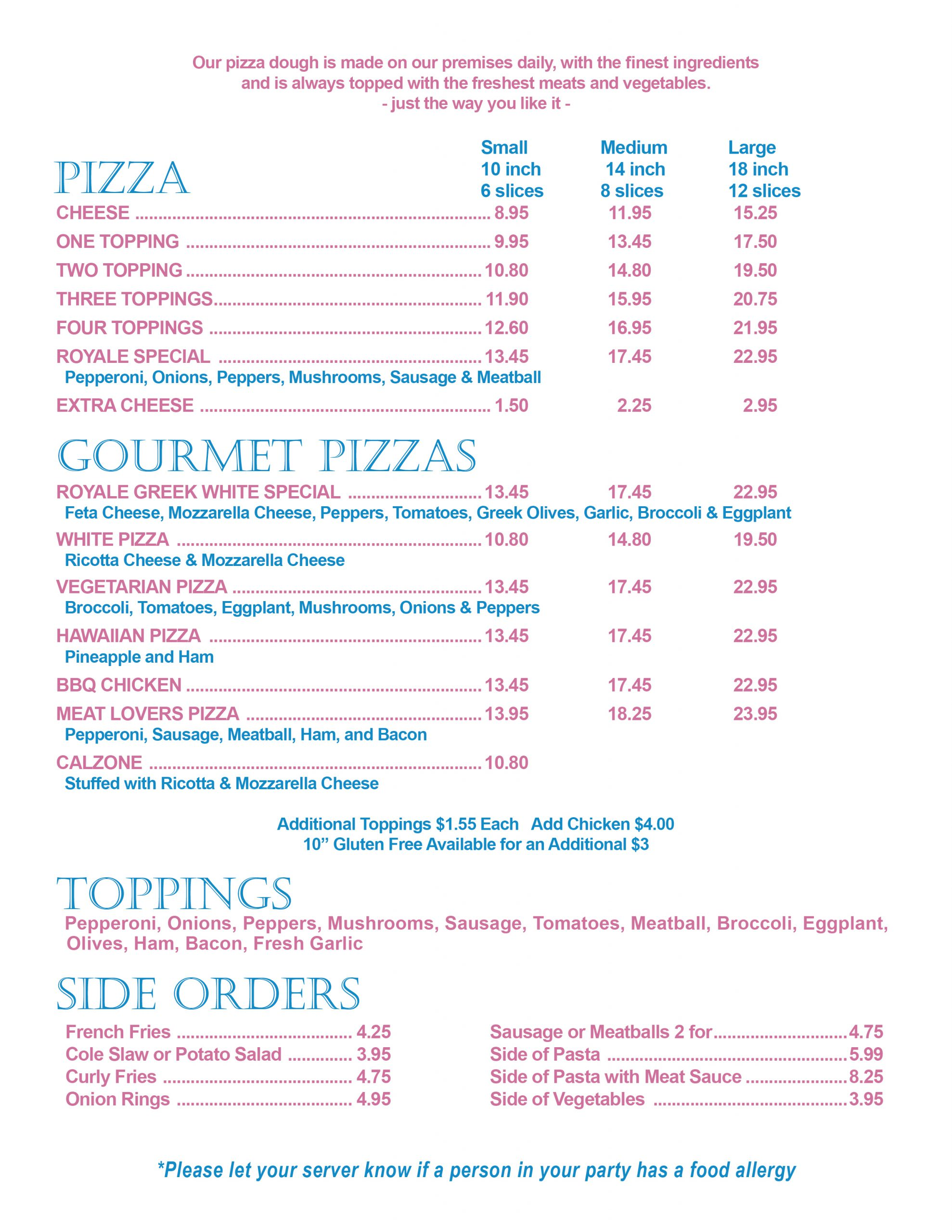 Jimmy D's Pizza Royale Menu Pizza Restaurant Diner Food Near Me